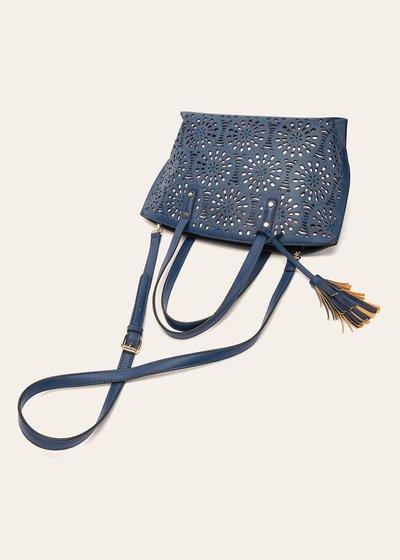 Bryn openwork faux-leather shopping bag