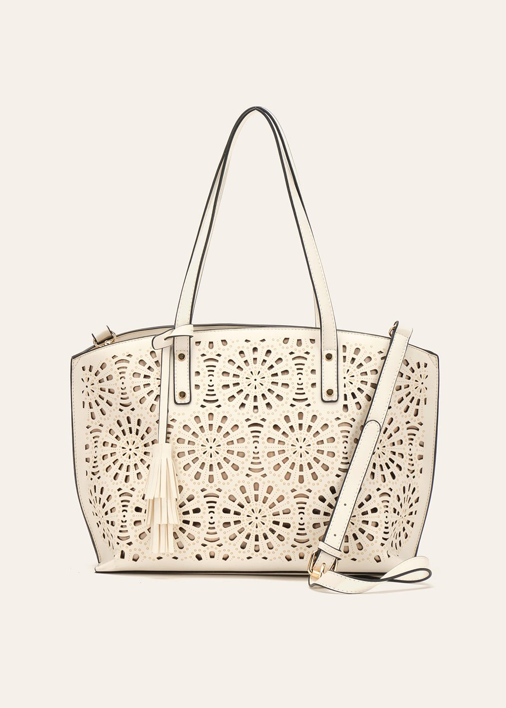 Bryn openwork faux-leather shopping bag - White - Woman