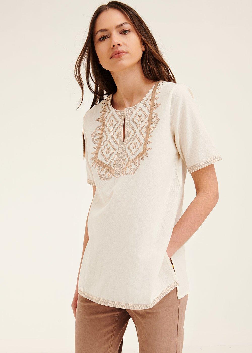 Blusa Chantal modello kaftano - White \ Sole \ Fantasia - Donna