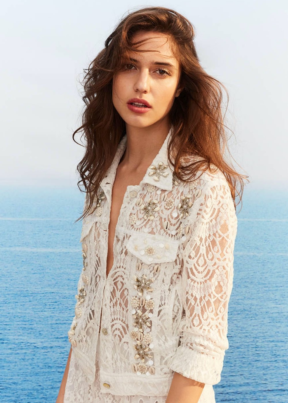 Caren lace jacket with shells - White - Woman