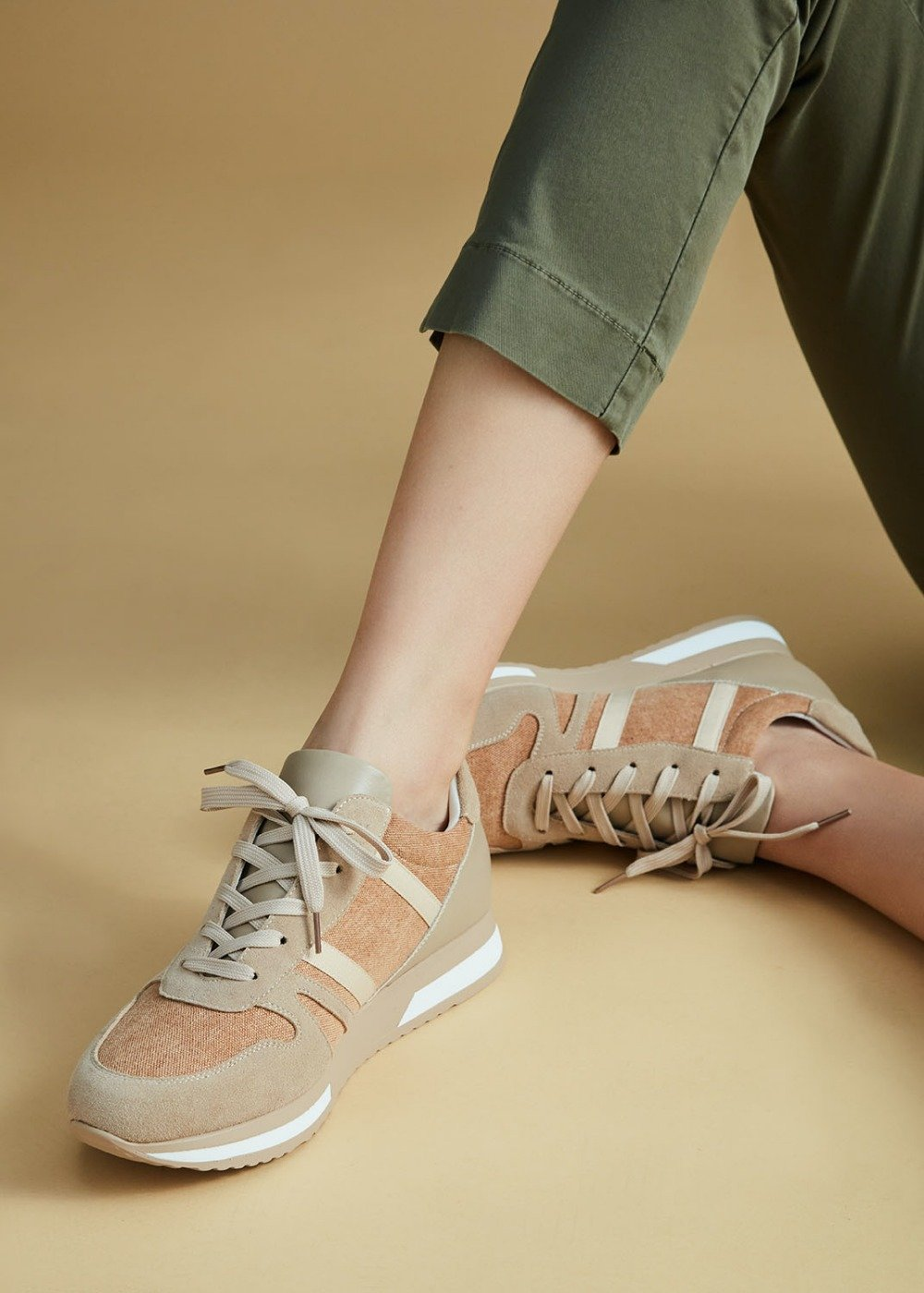 Sharon sneakers with white laces - Light Beige - Woman