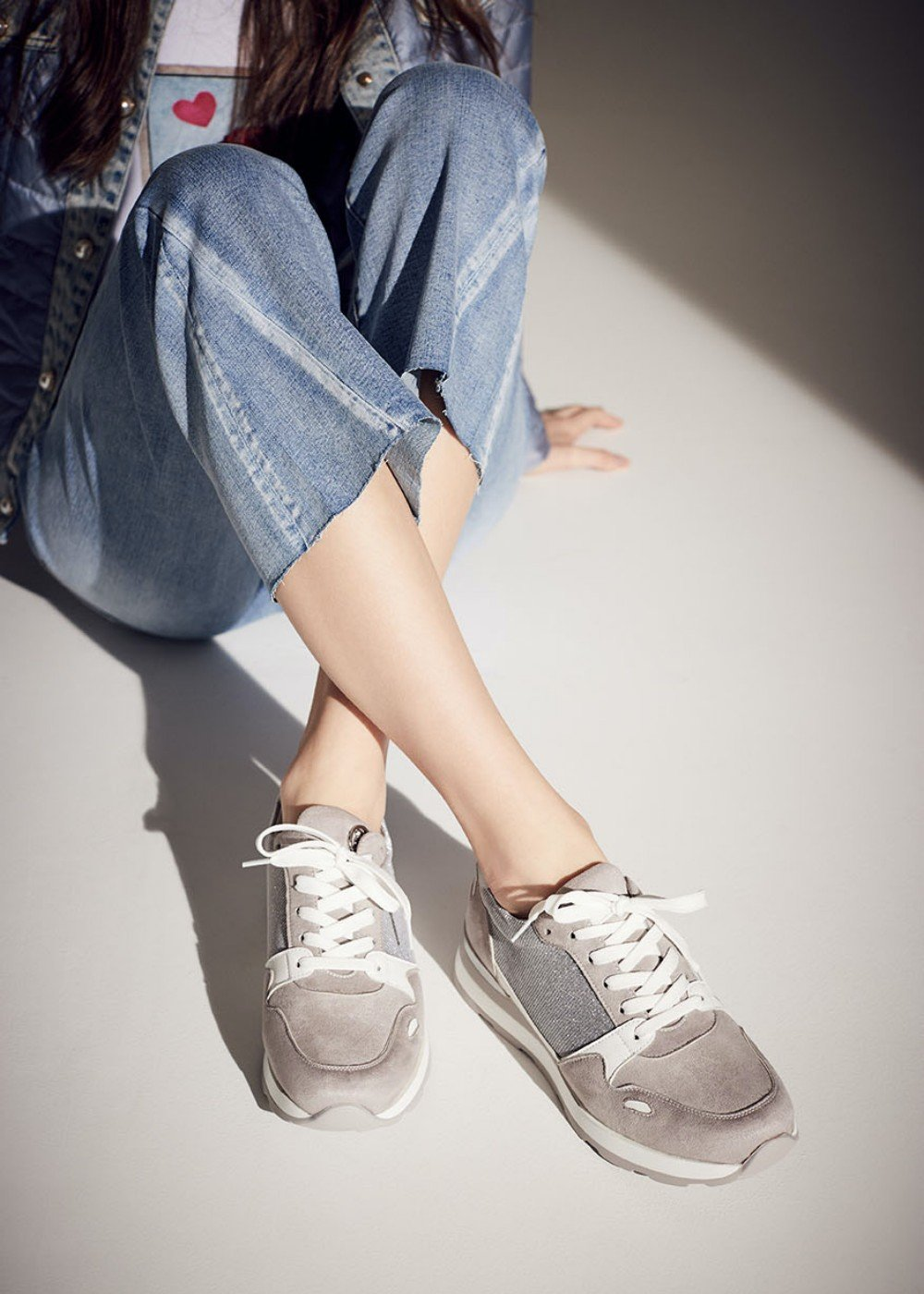 Shelly sneakers with glitter inset - Light Grey - Woman