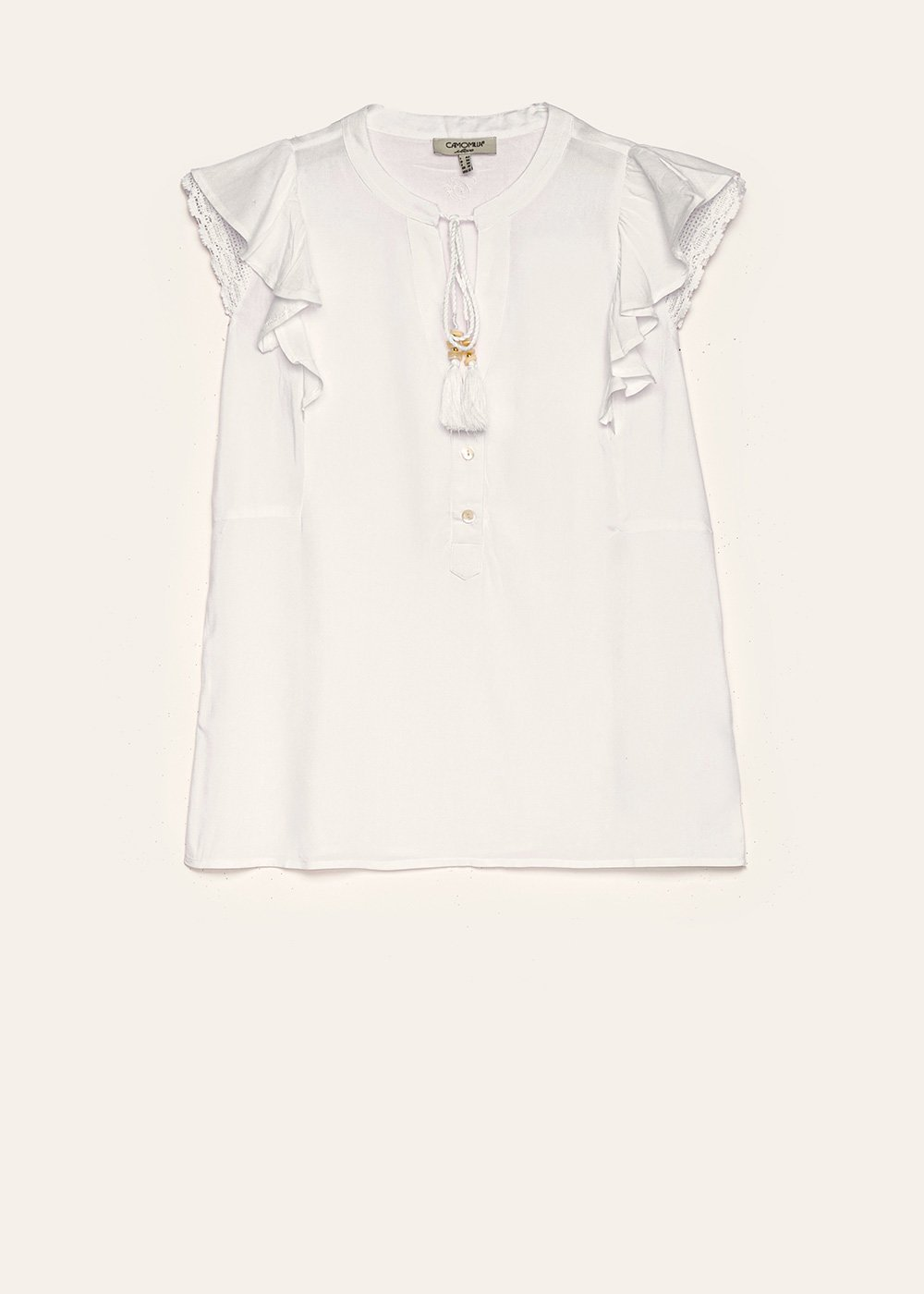 Toby top with ruffles - White - Woman
