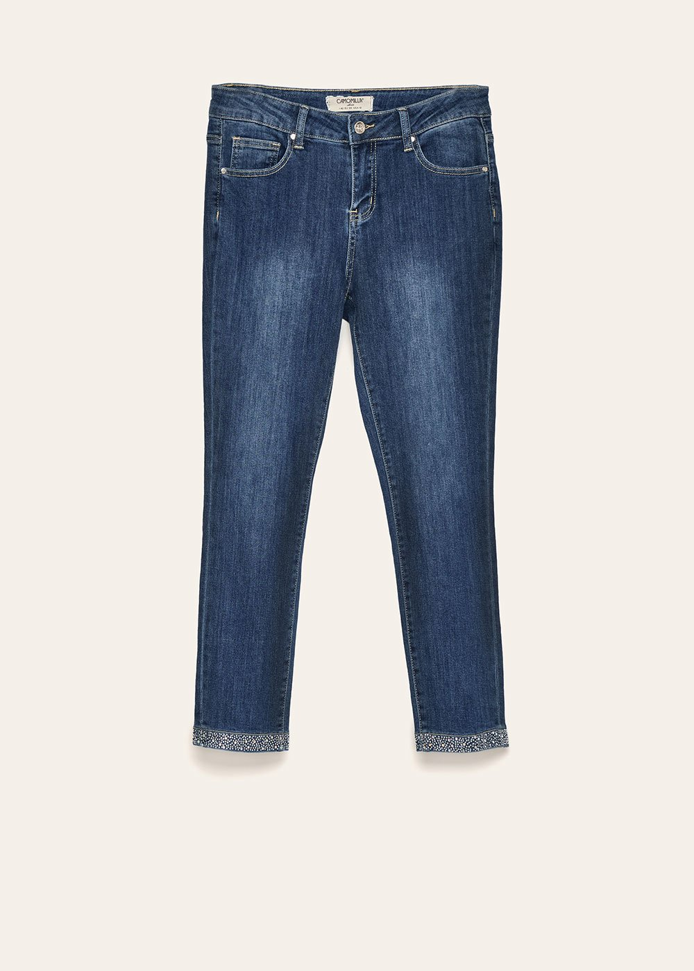 David capri pants with rhinestone hem - Dark Denim - Woman