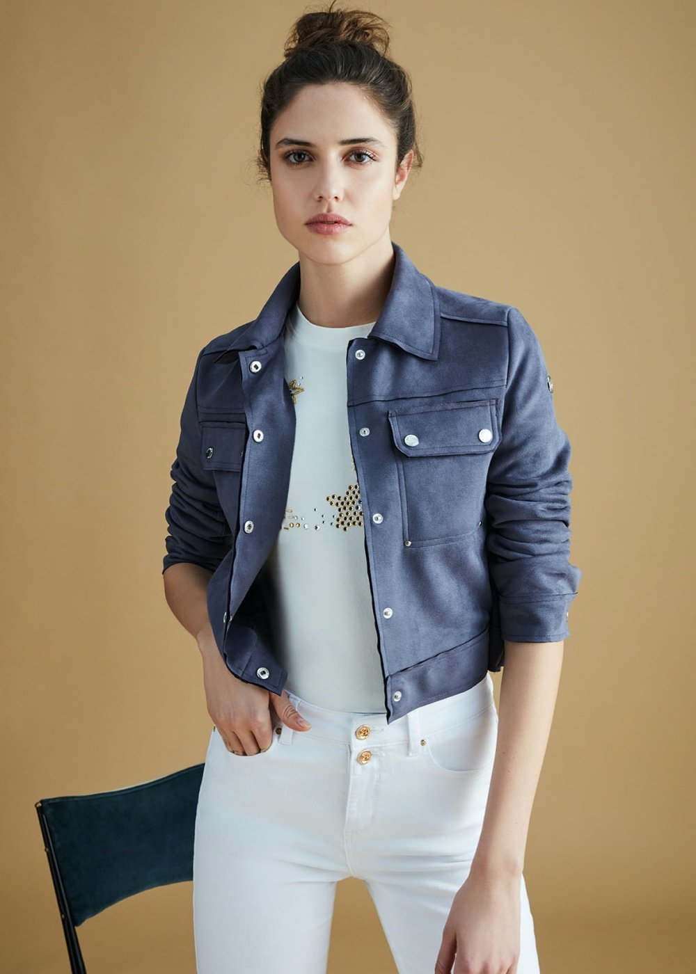 Gavin faux-suede jacket with buttons - Blue - Woman