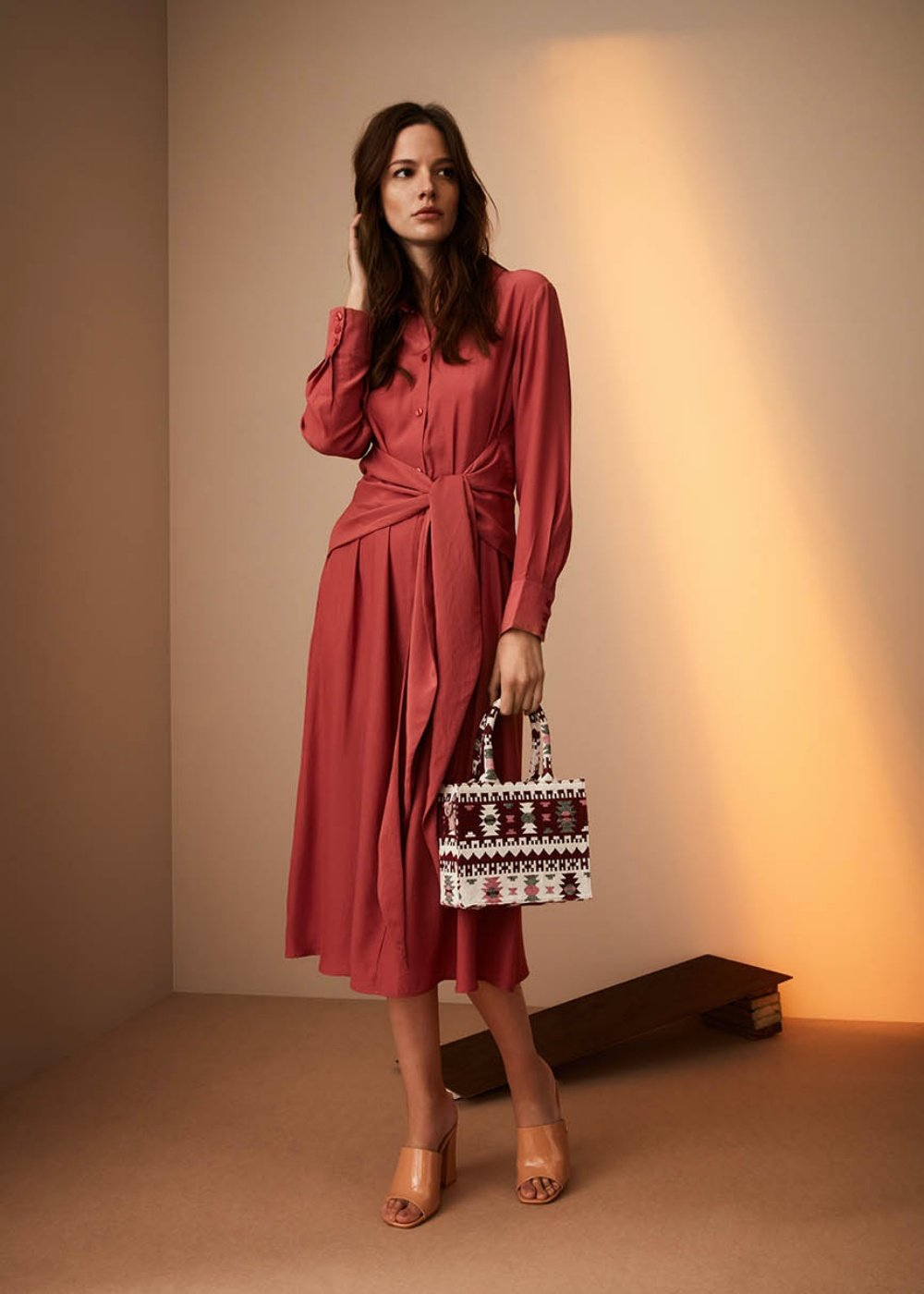 Angelie dress with waist knot - Coral - Woman