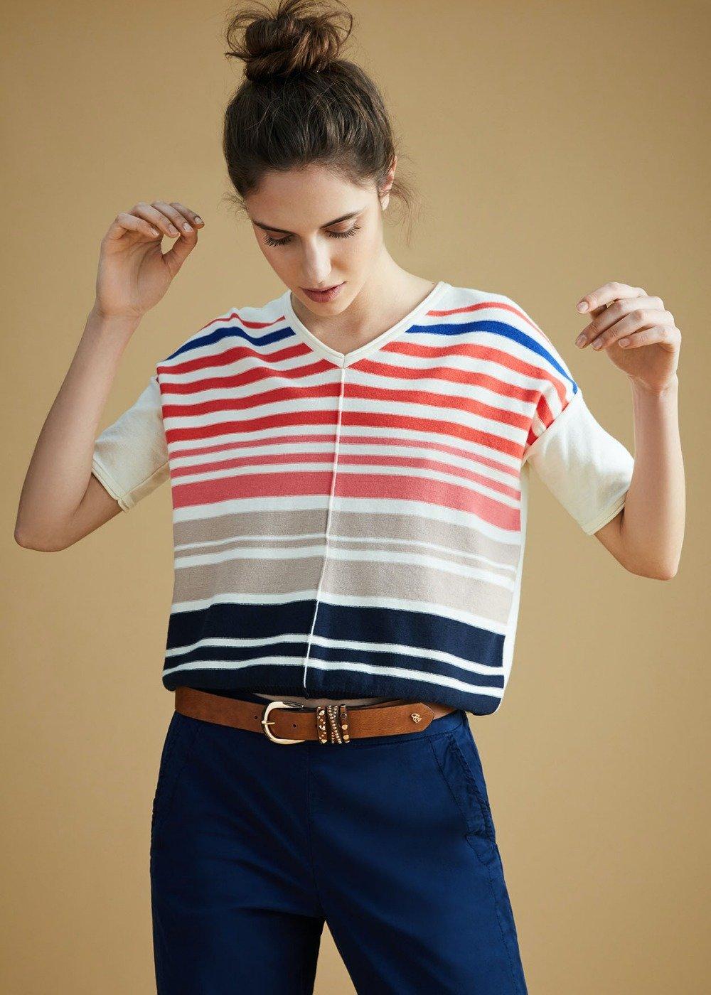 Mariann T-shirt with striped print - White\ Aragosta\ Stripes - Woman