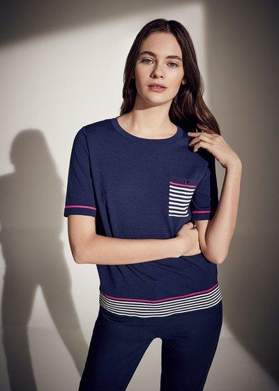 T-shirt Maikol righe e taschino