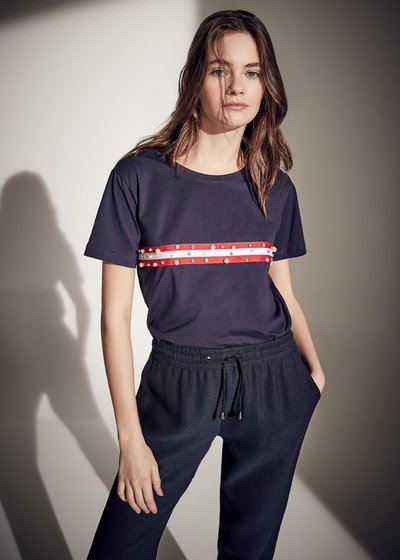 Susan t-shirt with contrasting stripes