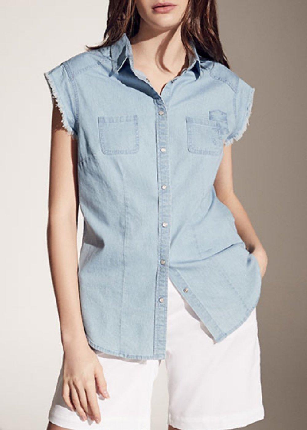 Candye sleeveless denim shirt - Light Denim - Woman