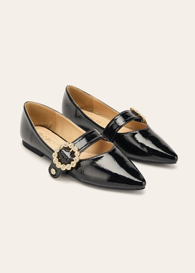 Sharleen glossy ballet flats with buckle