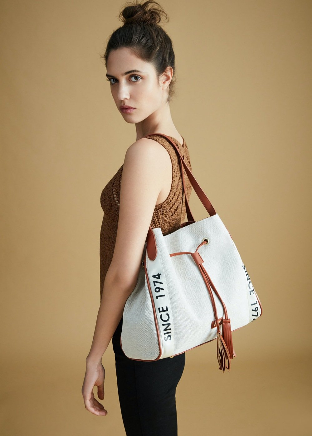 Brooke canvas sack bag with logo ribbons - Light Beige - Woman