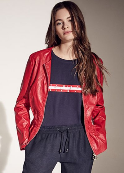 Garys faux-leather jacket with ruffles
