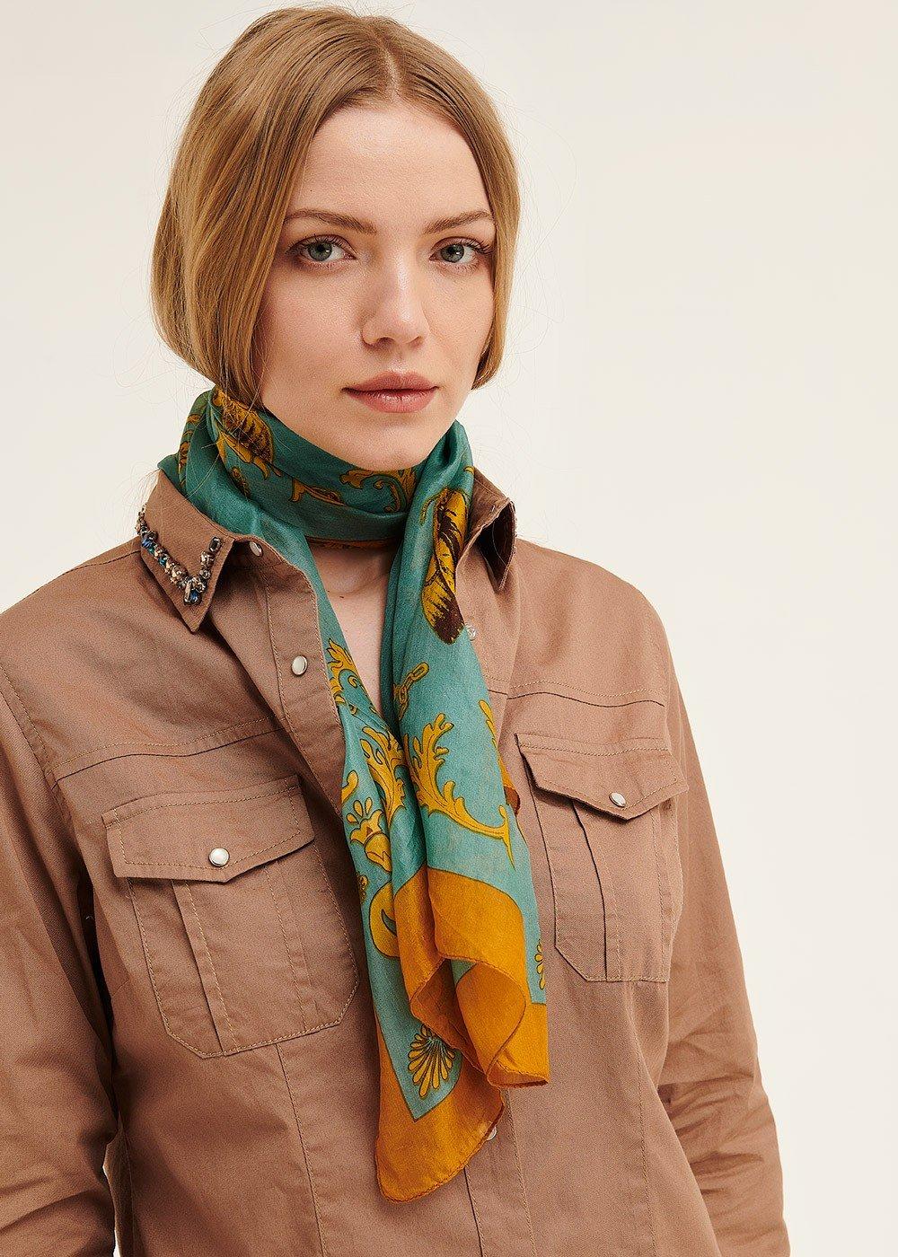 Sand baroque print scarf - Goccia / Papaya - Woman
