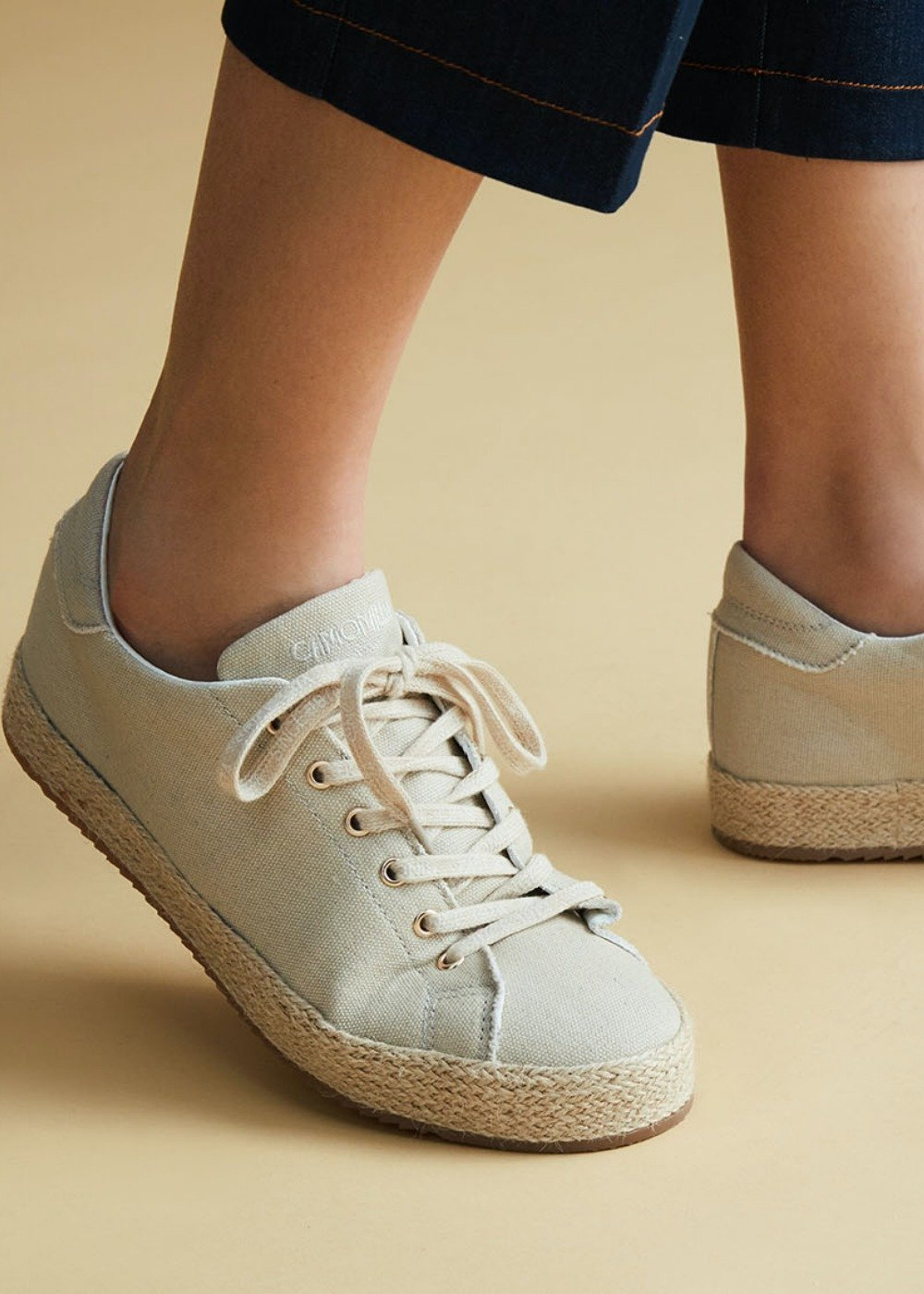 Shelly canvas shoe with straw sole - Light Beige - Woman