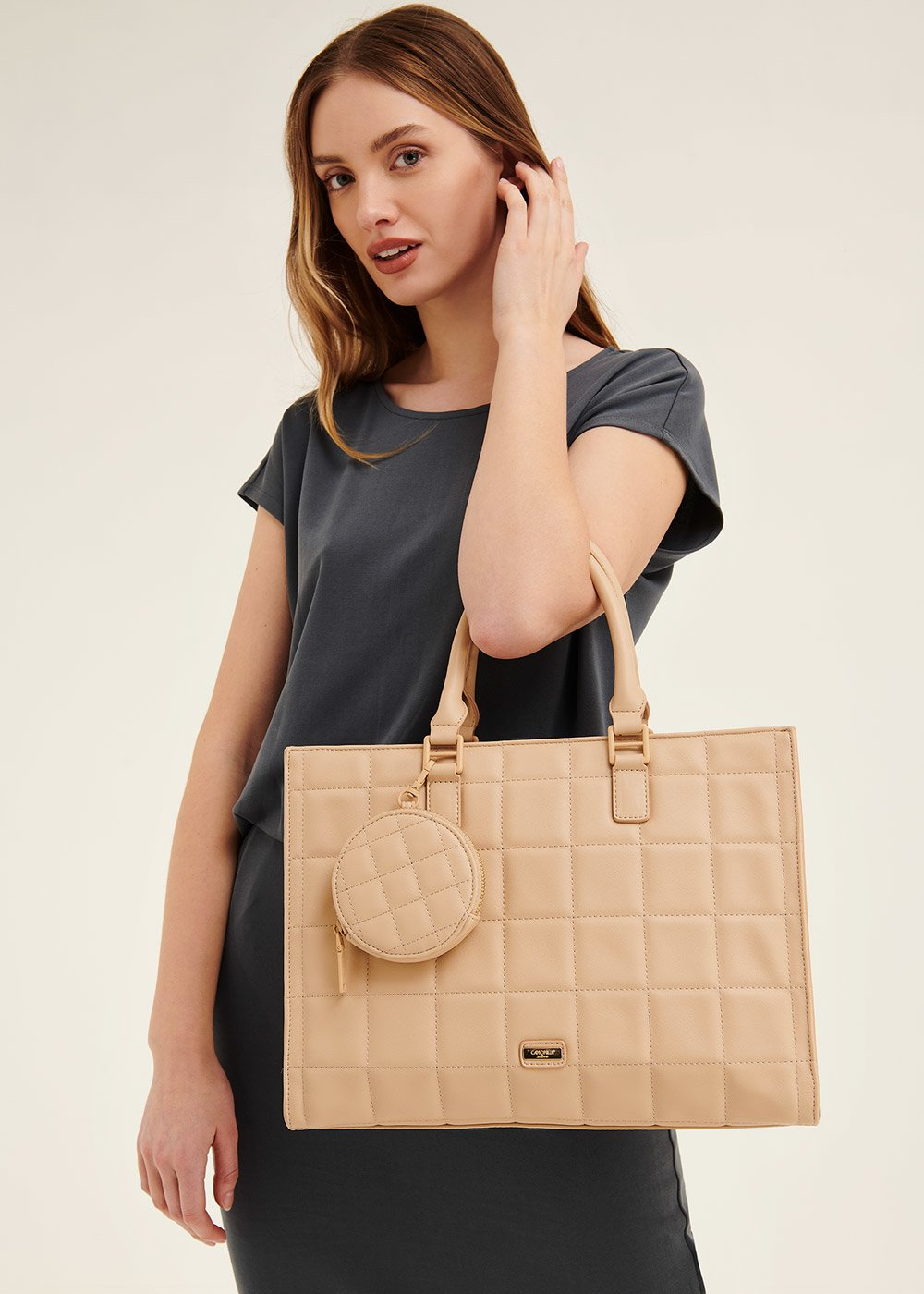 Betty semi-rigid shopping bag - Doeskin - Woman