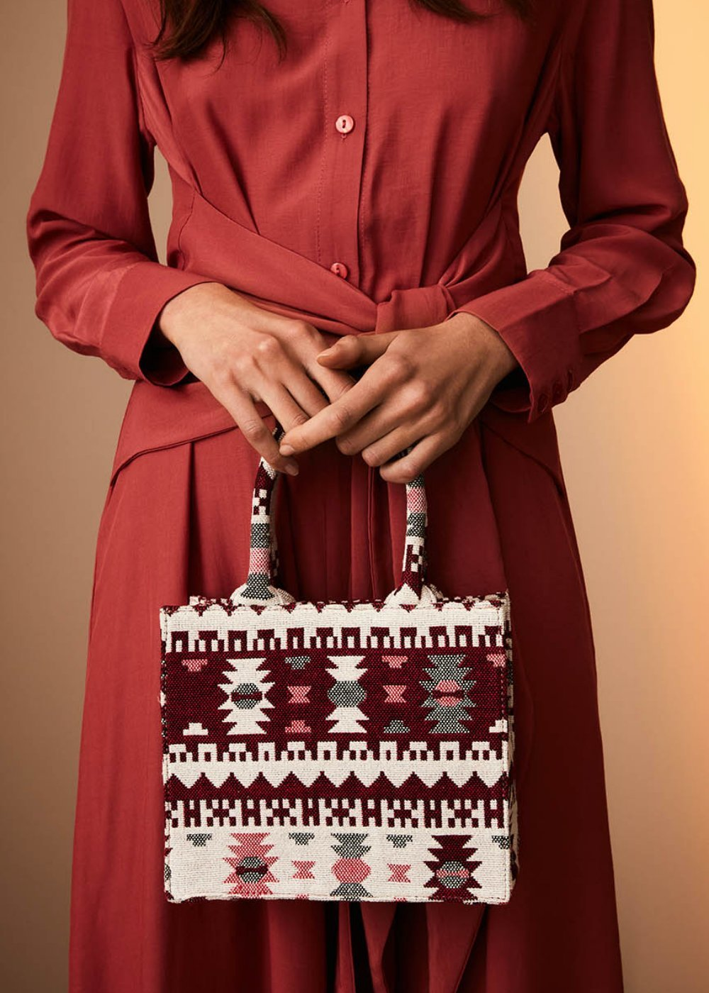 Minibag Beatris tessuto jacquard - Anemone Fantasia - Donna
