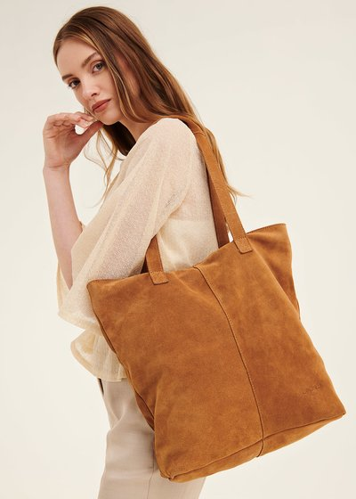 Brigit unlined genuine leather shopping bag