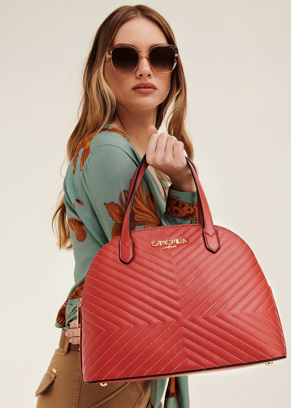 Bethel quilted boston bag - Coral - Woman