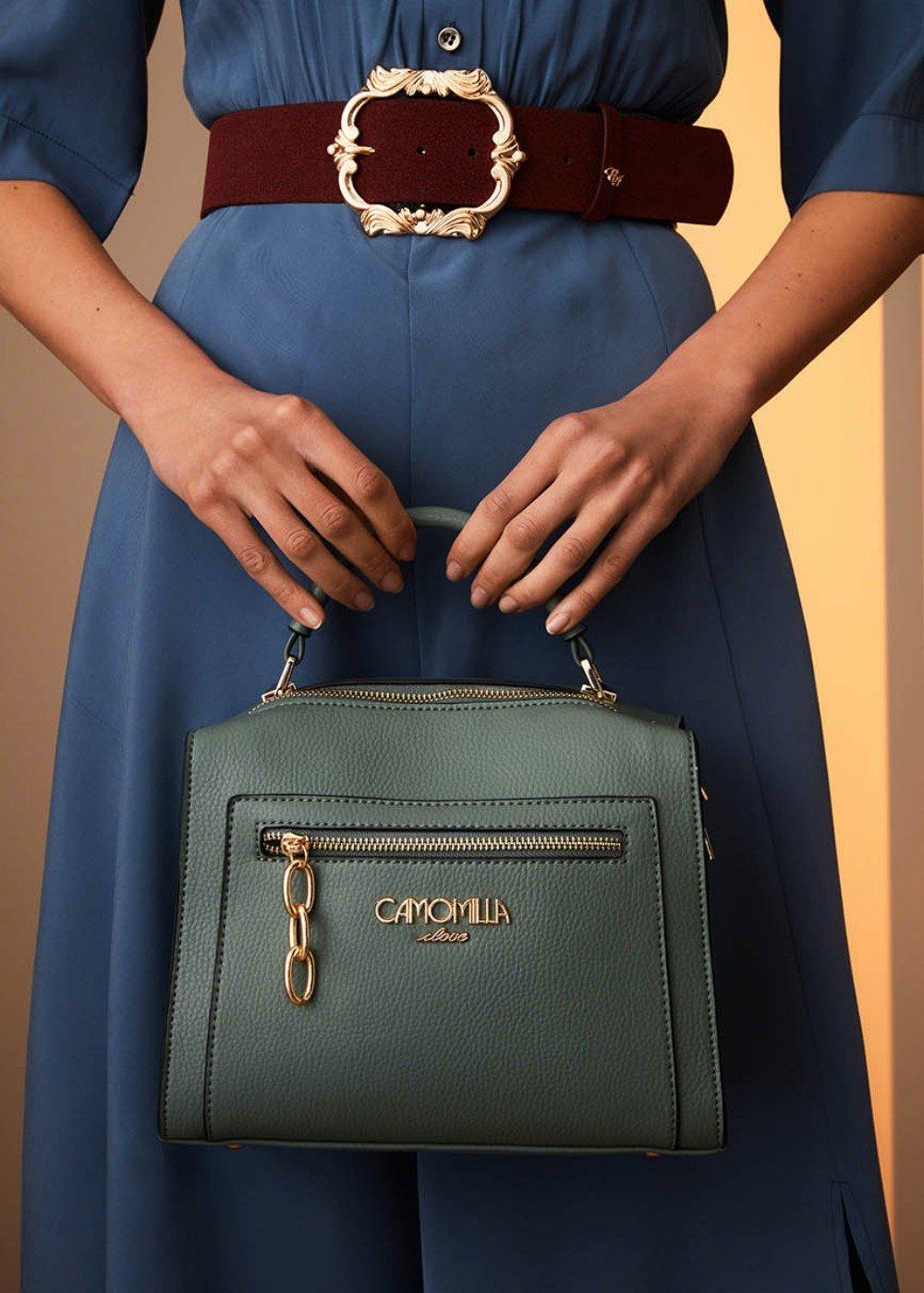 Bahiti Boston bag with external pocket - Sasso - Woman