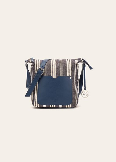 Bailey fabric handbag with stripe and lurex pattern