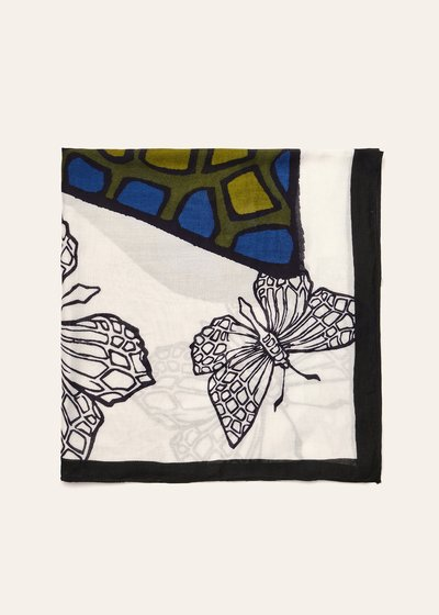 Butterfly print cotton scarf