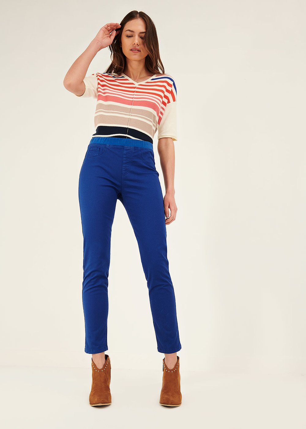 Kelly trousers with elastic waistband - Blue - Woman