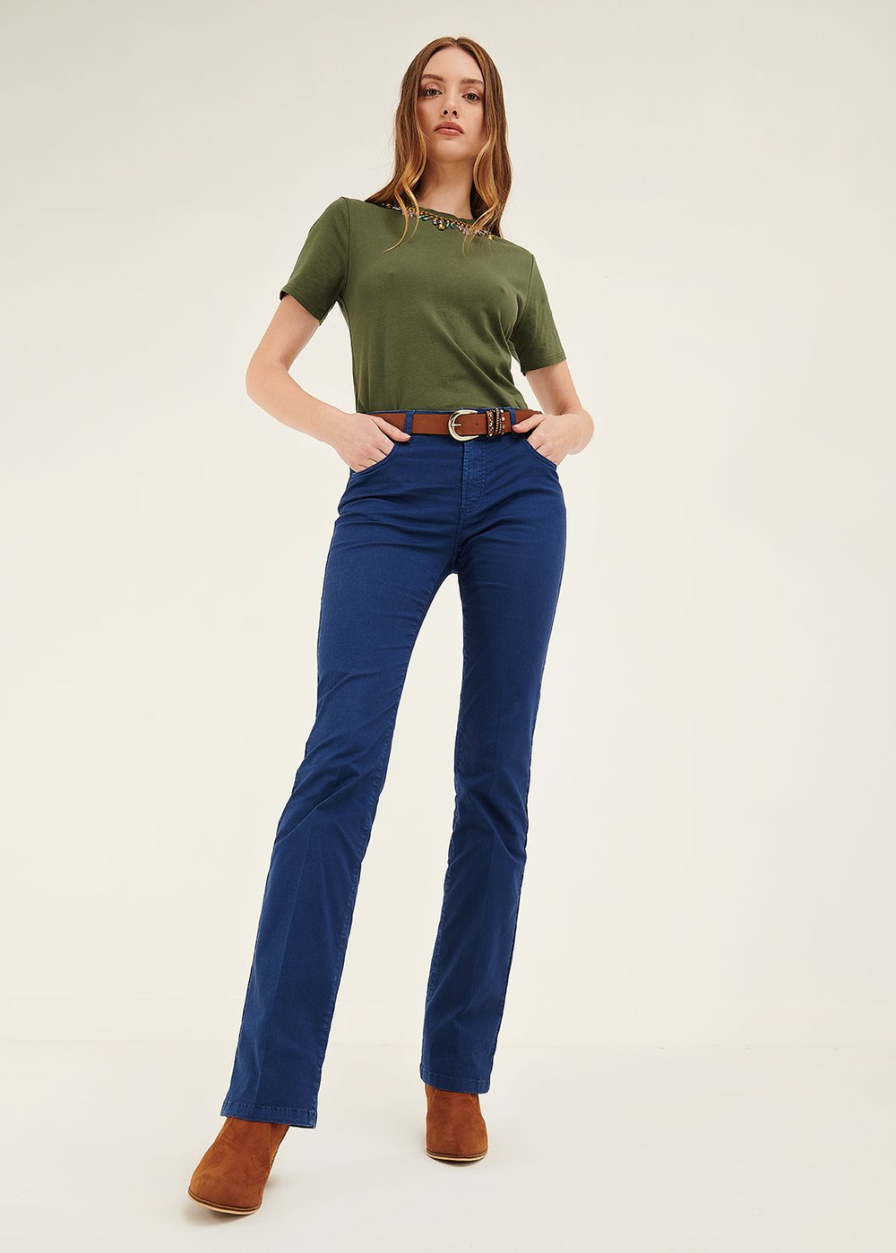 Cindy flared trousers - Blue - Woman