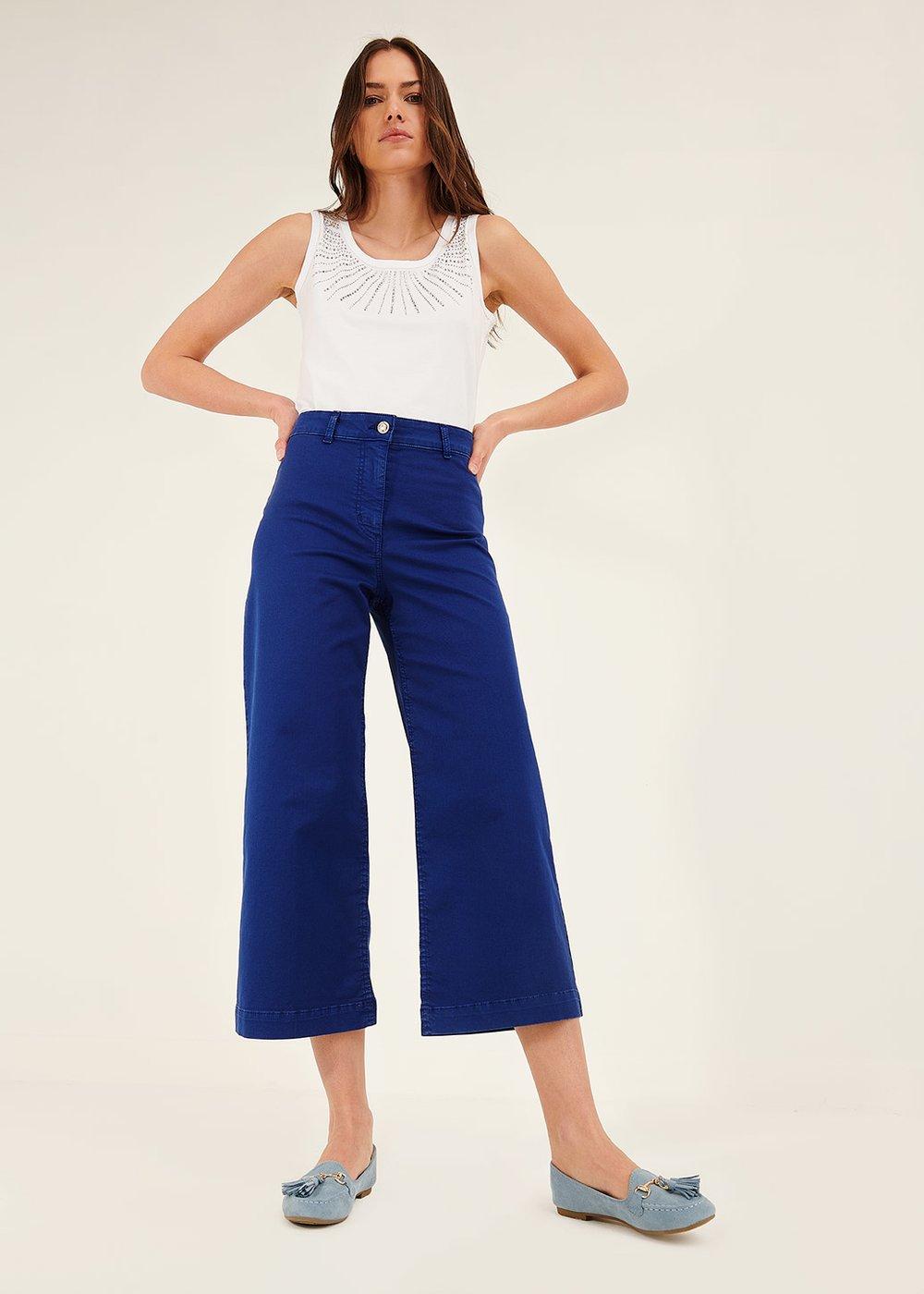 Pantalone Megan gamba larga - Abisso - Donna