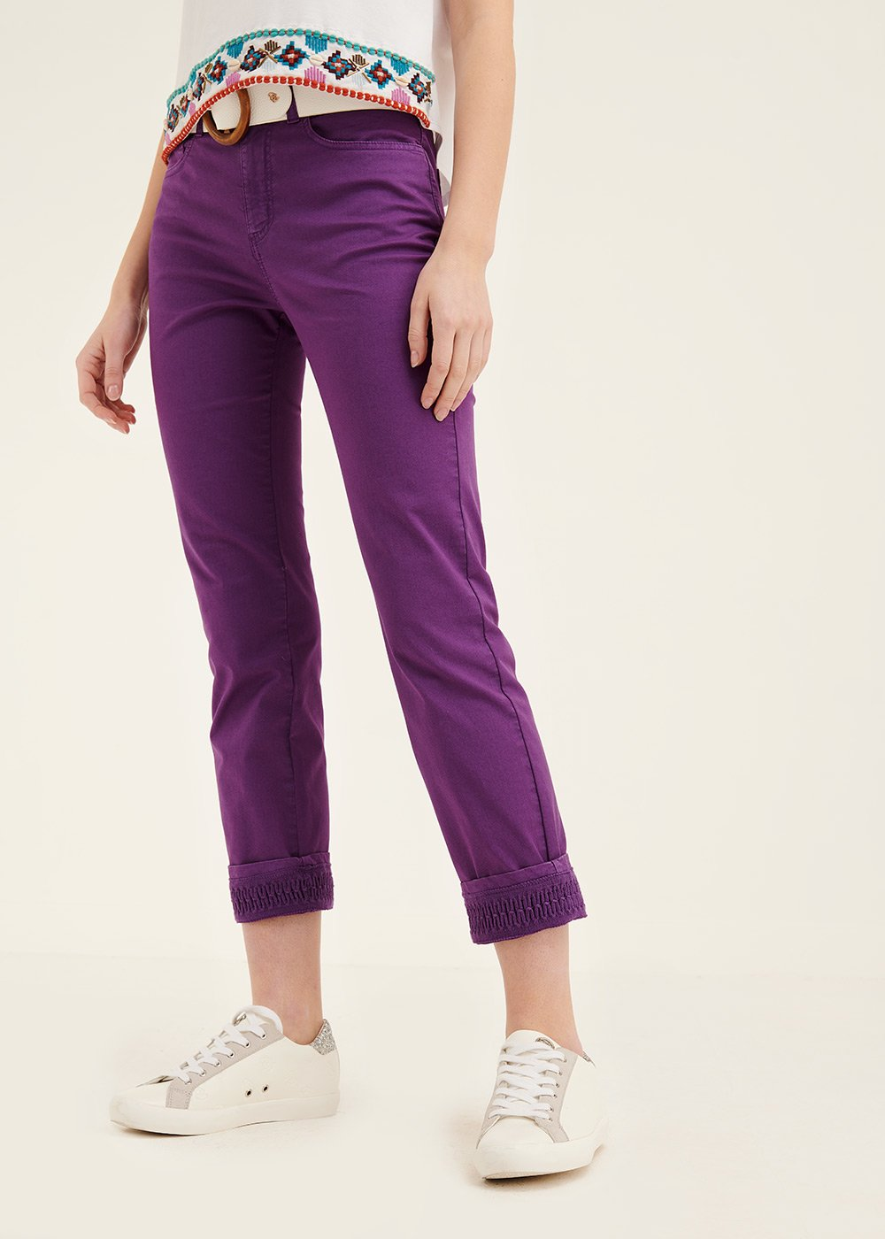 Kate trousers with crochet at hem - Blueberry - Woman