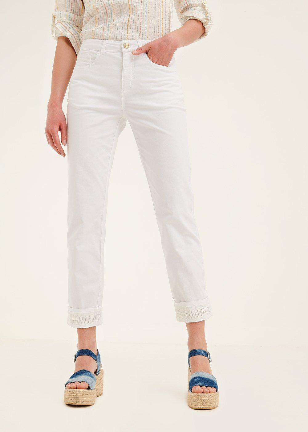 Kate trousers with crochet at hem - White - Woman