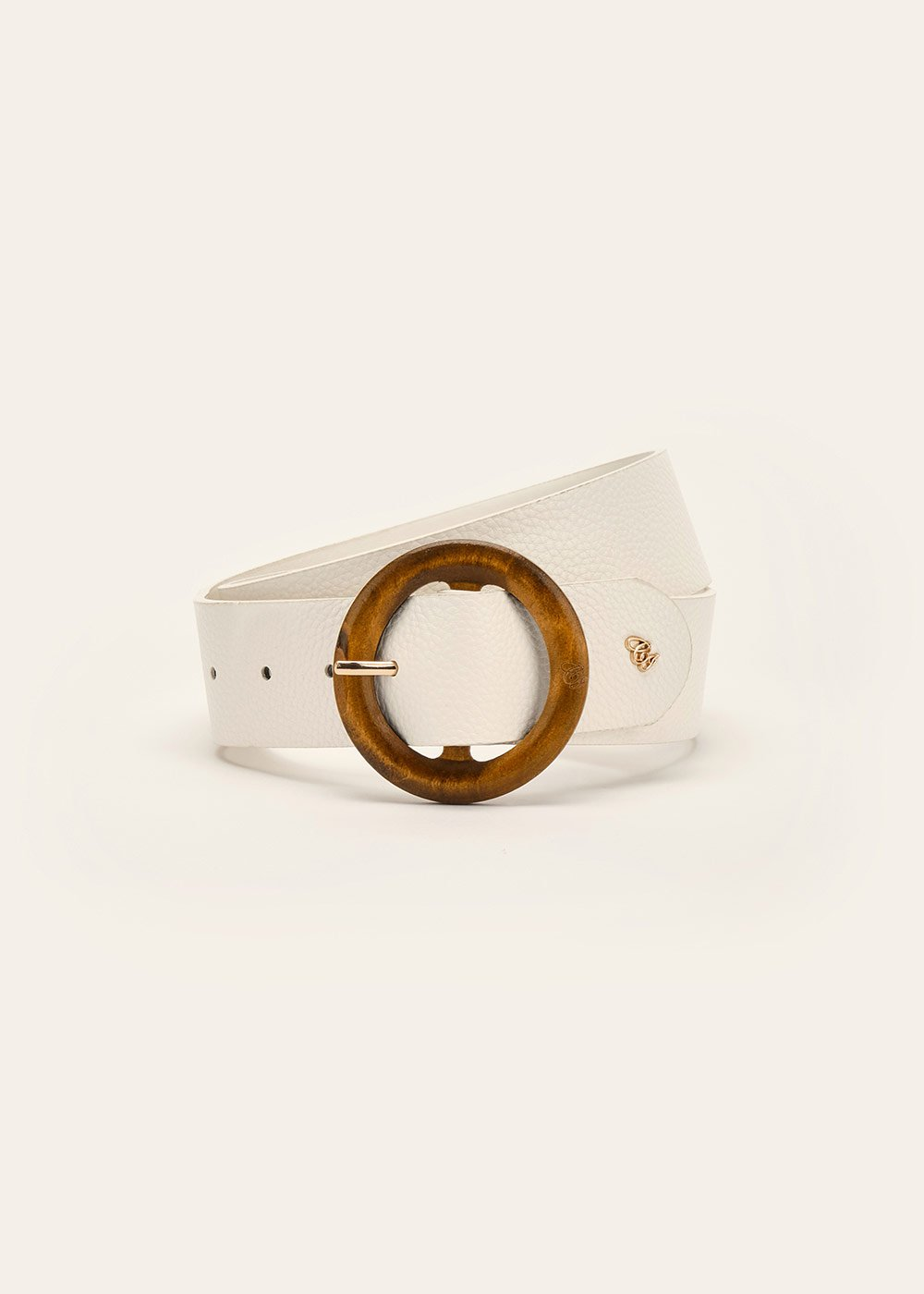 Camyl belt with wooden buckle - White - Woman
