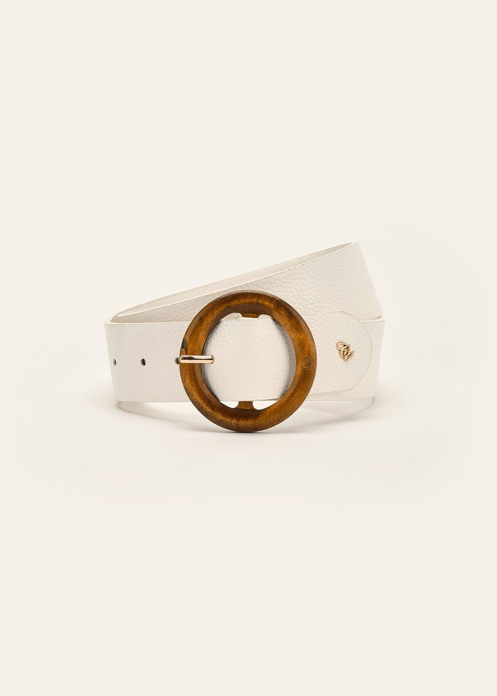 Cintura Camyl con fibbia in legno - White - Donna