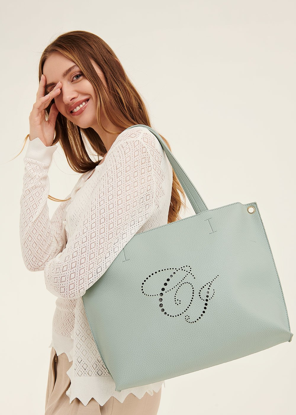 Shopping bag Bridge con logo traforato - Argilla - Donna