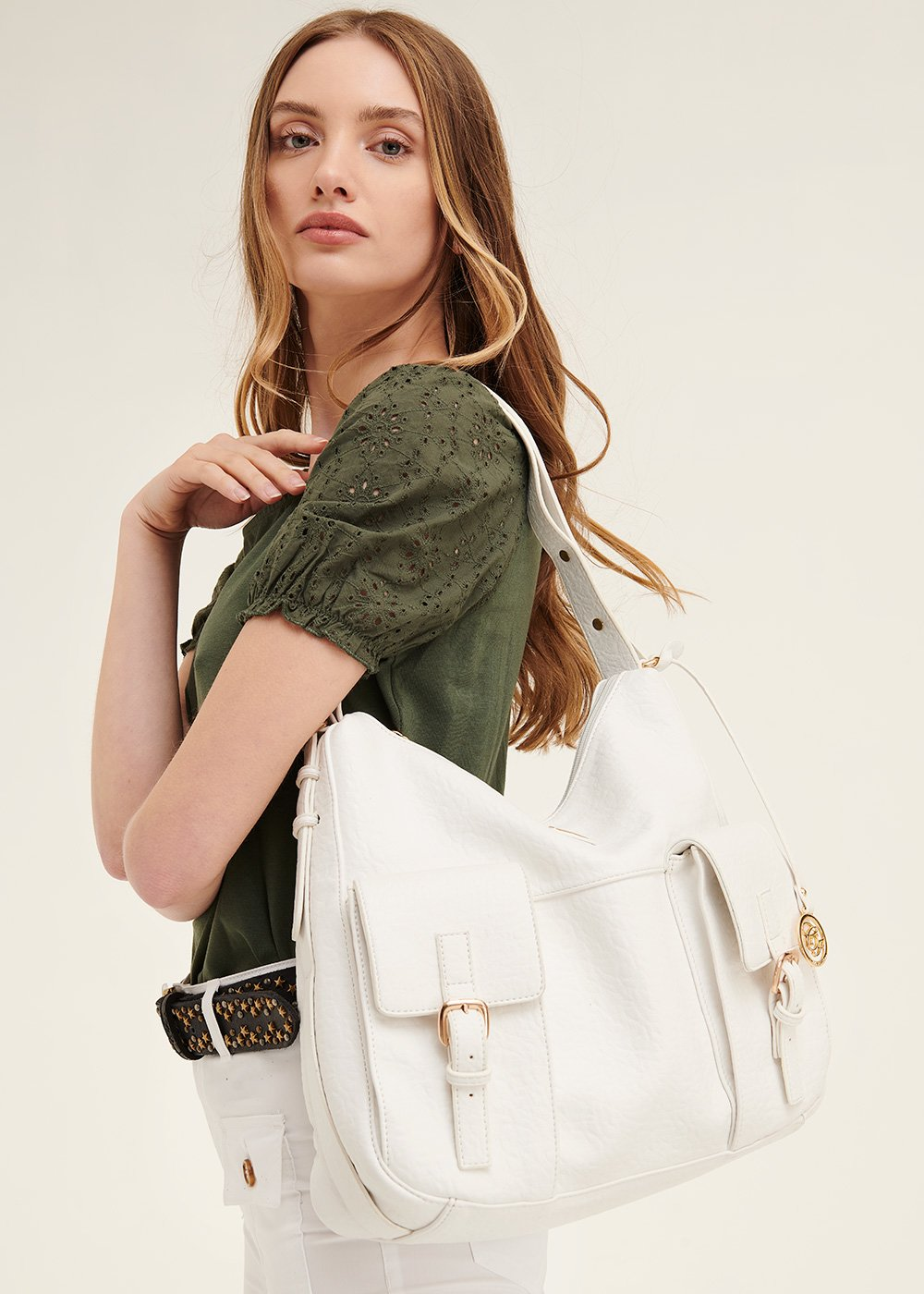 Bertha sack bag with front pockets - White - Woman