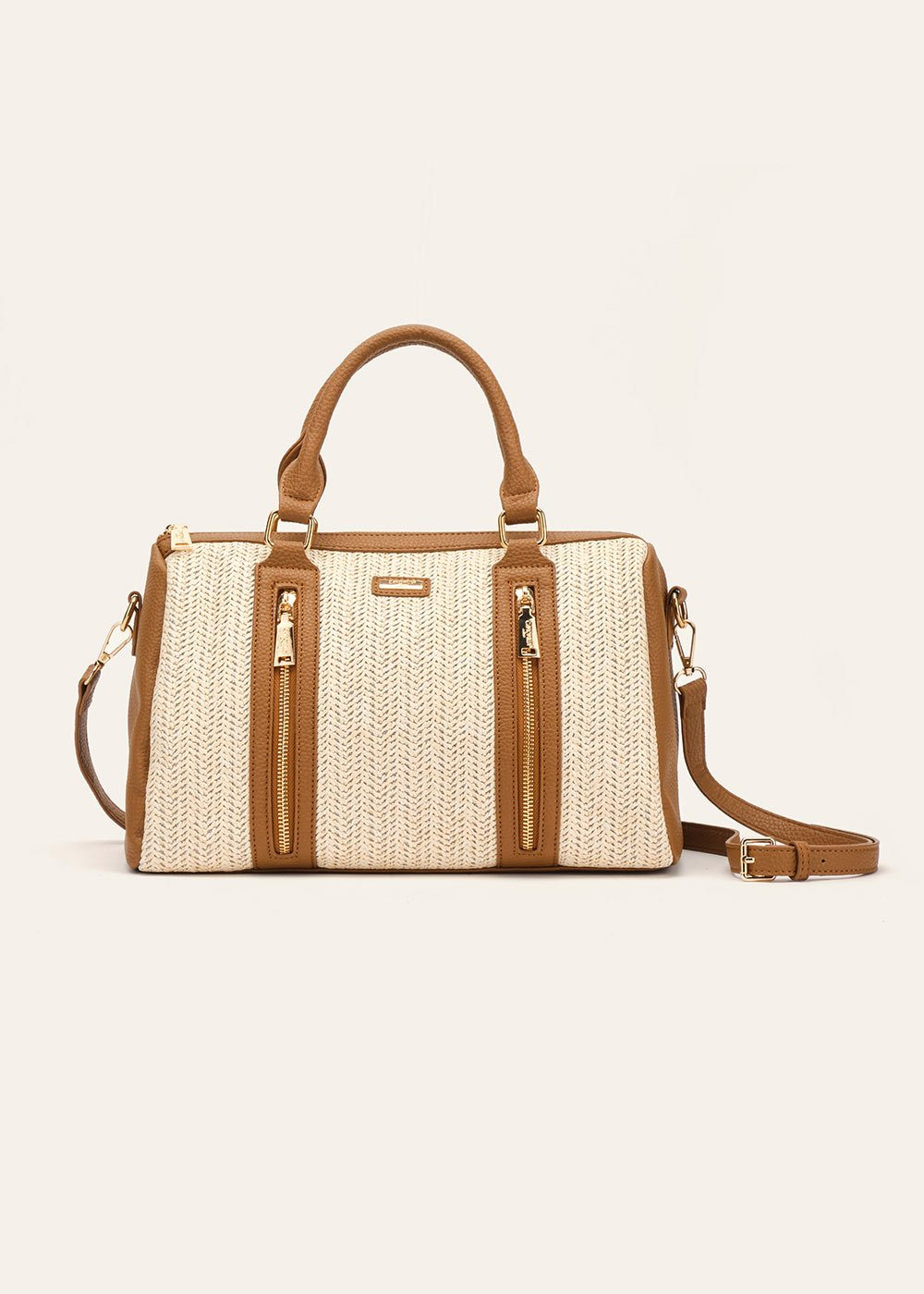 Blondy straw and faux-leather boston bag - Light Beige  / Pecan - Woman