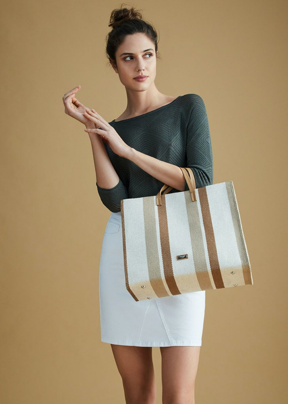 Shopping bag Beckie in canvas - Light Beige Stripes - Donna