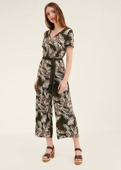 Tracy jumpsuit with leaf pattern