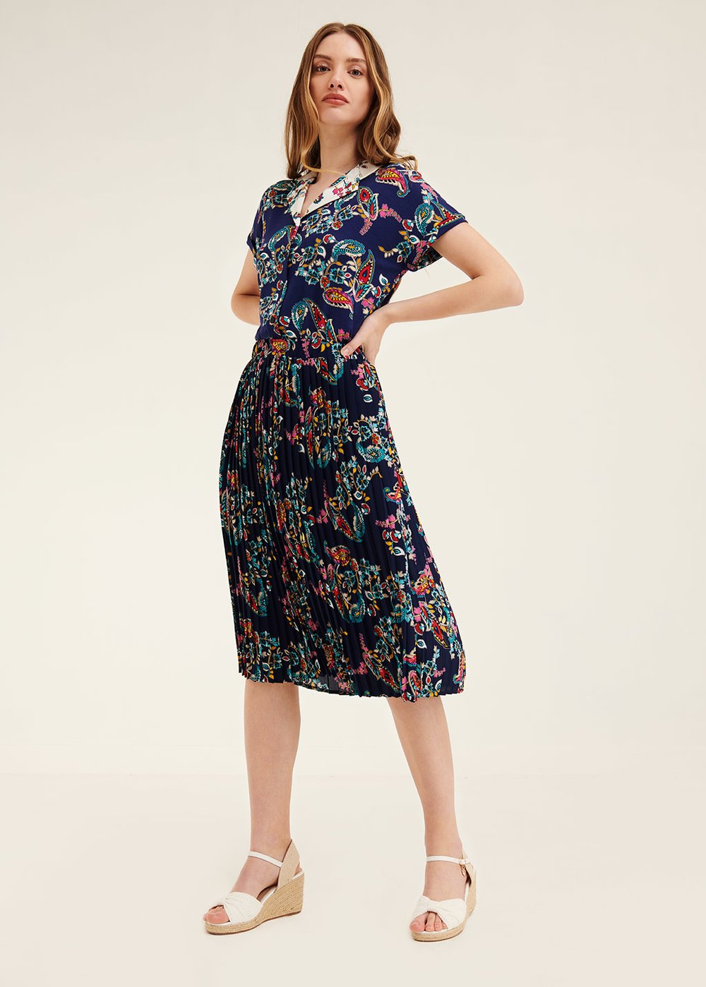 Gioia skirt with all-over pattern - Blue / Papaya Fantasia - Woman