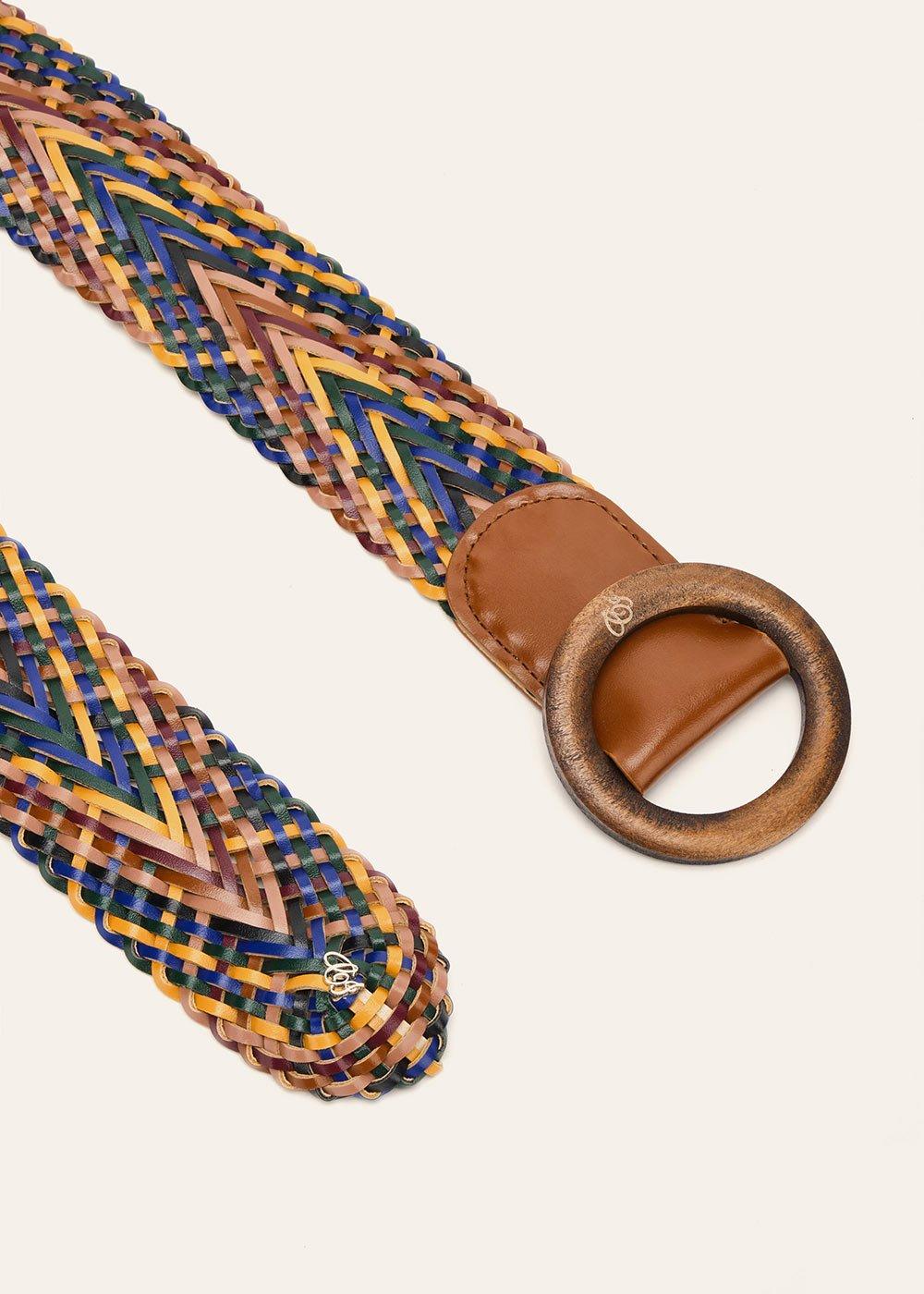 Cintura Cecyl intrecciata multicolor - Abisso  / Papaya - Donna
