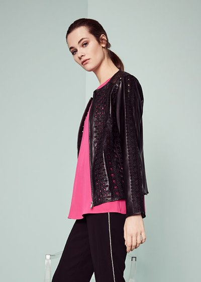 George faux-leather jacket with openwork effect