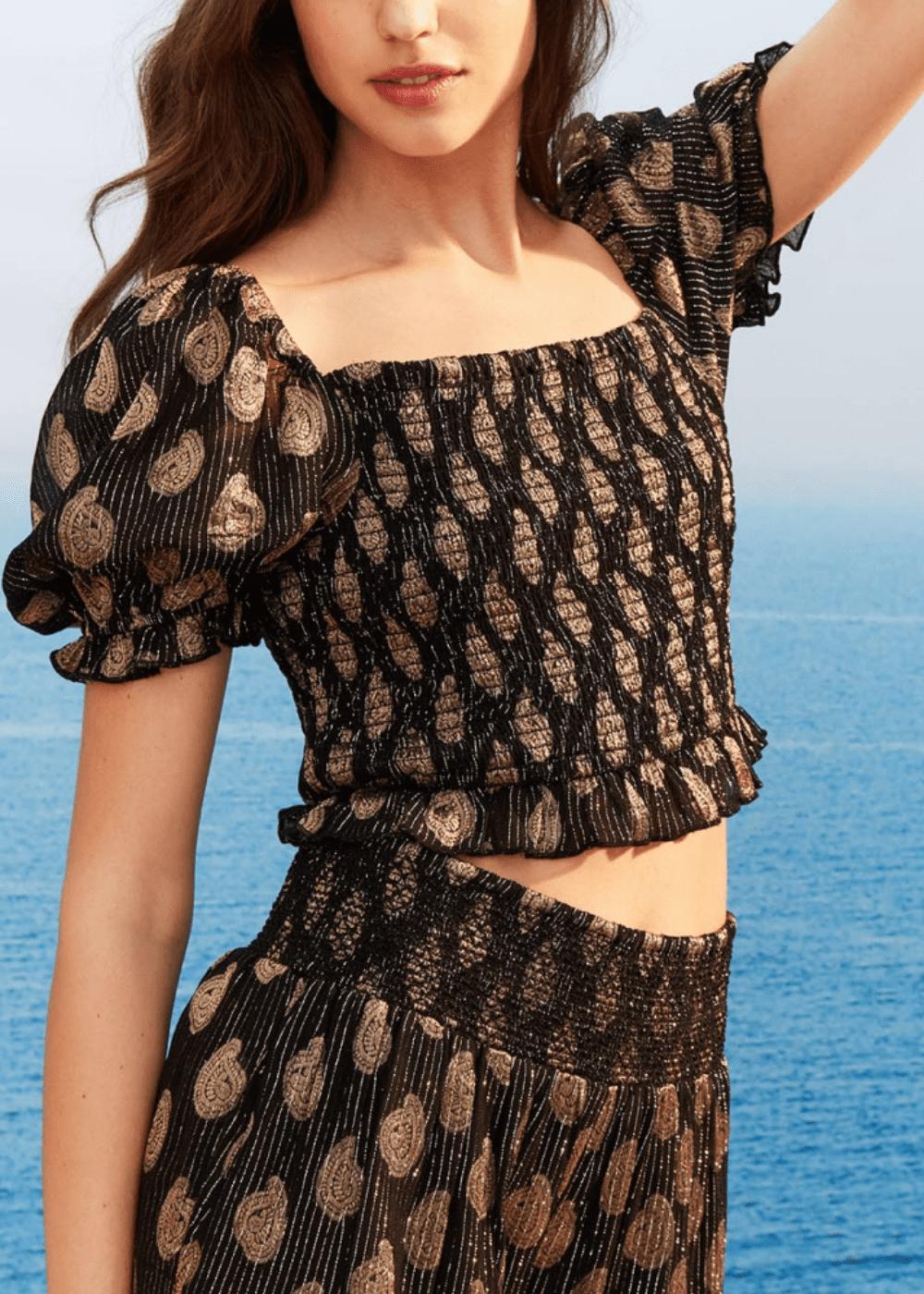 Siria t-shirt with smock stitch - Black / Gold / Fantasia - Woman
