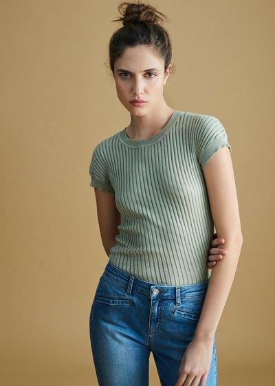 T-shirt Seraphine lavorazione righe tono su tono