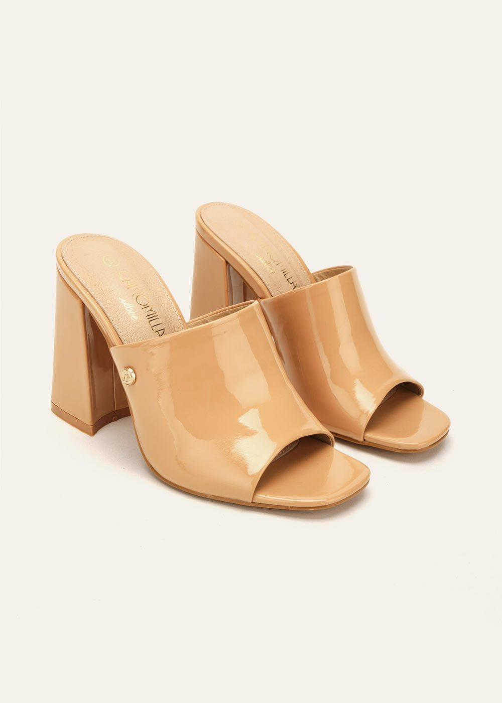 Sary patent faux-leather sabots - Light Beige - Woman