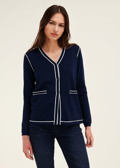 Clio cardigan with contrasting trim