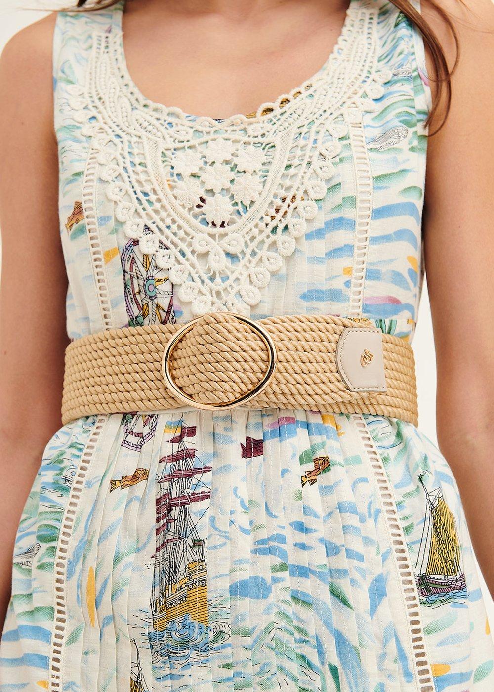 Cintura Carlys in corda con fibbia rotonda - Safari - Donna