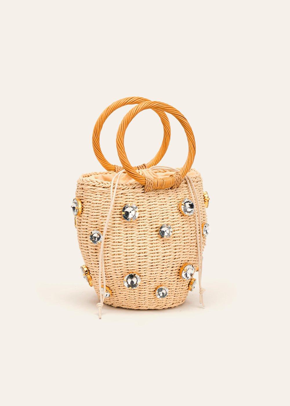 Birdie clutch bag with rhinestones - Beige - Woman