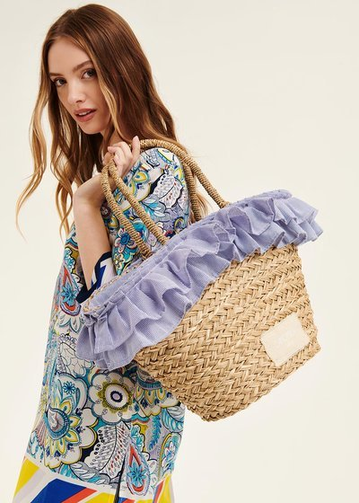 Barny straw bag with flounces