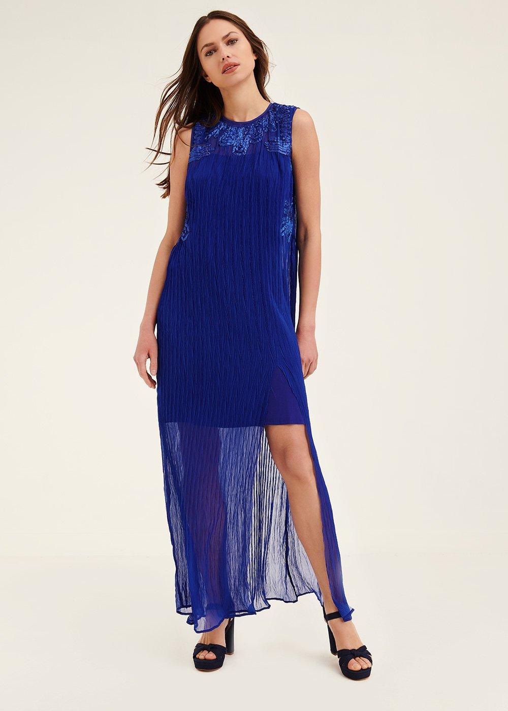 Azur pleated georgette dress - Abisso - Woman