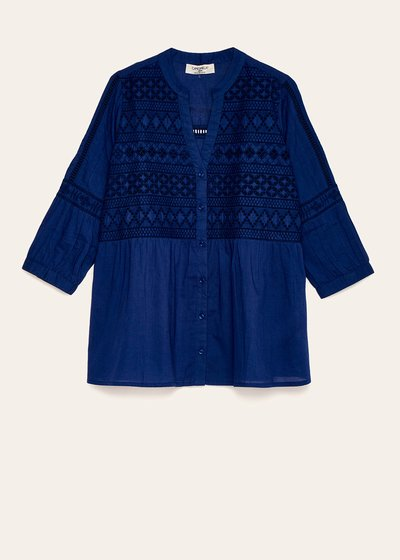 Claudia shirt with embroidery and openwork